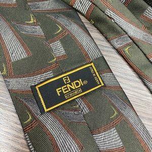 Fendi Olive Green Abstract Pattern Silk Tie